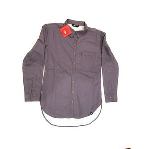 The North Face Gray/Purple Button Shirt, Small